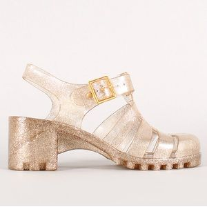 Bamboo Gold Glittery Block Heel Jelly Sandals